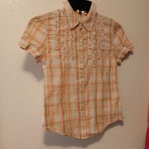 Justice size 12 orange and yellow plaid shirt